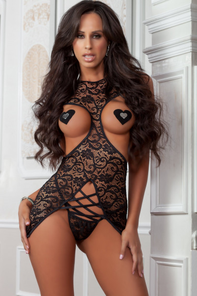 CUT-OUT CUPS-OUT CHANTILLY DRESS [G World Intimates] schwarz