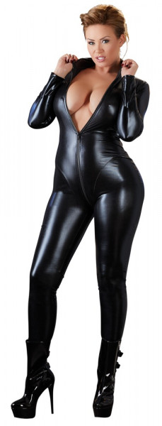 WETLOOK-OVERALL - QUEENSIZE [Cottelli Collection] schwarz