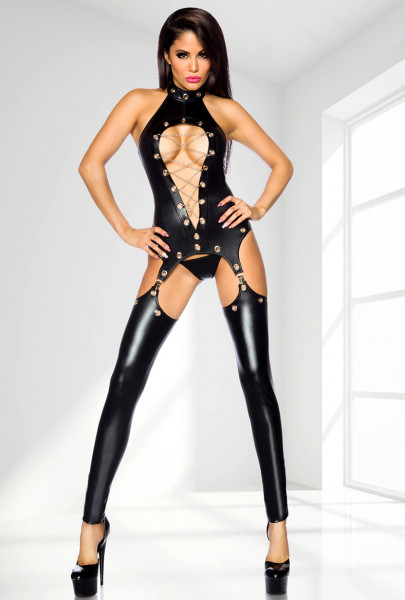 WETLOOK-STRAPSHEMD-SET [Saresia] schwarz