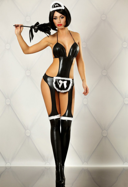 WETLOOK-CATSUIT FANCY MAID [Lolitta] schwarz/weiss