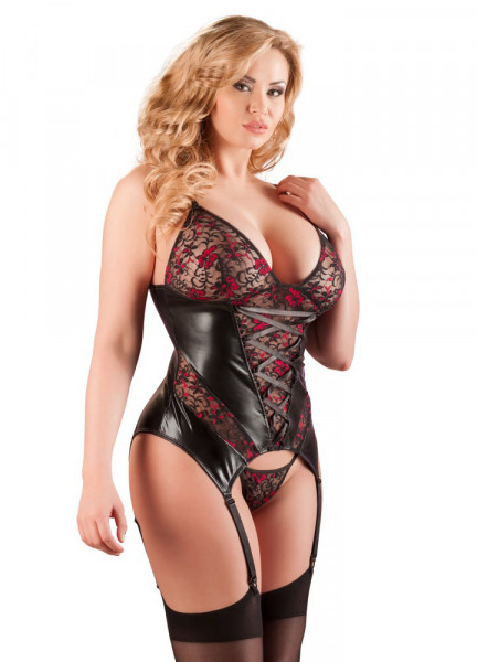 WETLOOK STRAPSHEMD - QUEENSIZE [Cottelli Collection] schwarz/rot