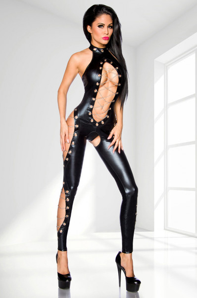 WETLOOK-CATSUIT [Saresia] schwarz
