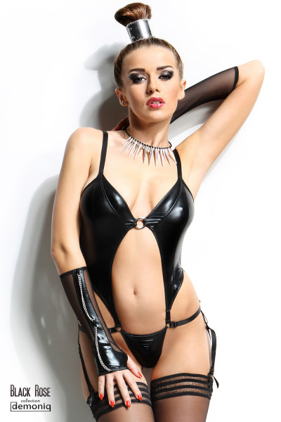 WETLOOK-BODY - NADINE [Demoniq] schwarz
